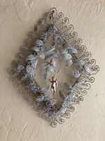 ANTIQUE 1890s 1900s FRENCH IMMORTELLE GLASS BEADED MOURNING WREATH FUNERALIA