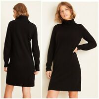 NWT Ann Taylor Womens Size XS 100% Cashmere Turtleneck Sweater Dress Soft Black