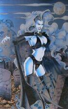Evil Halloween Cemetery Goth Girl Garter Belt Black Artist Print Naughty Risque