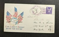 1942 WWII Life Liberty Happiness Patriotic Cover Norfolk VA to New York City