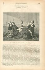 Exposition des Beaux-Arts Les Orphelins par Hamon Tigre & Crocodile GRAVURE 1855