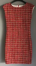 50s' Look NARINPORN Red, Black & Gold Textured Tweed Shift Dress Size 6/8