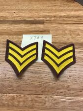 1 PAIR SERGEANT CHEVRON STRIPES YELLOW ON BROWN FOR POLICE  FIRE ETC NEW