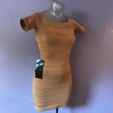 BEBE Nude Short Sleeve Stretch Bodycon Bandage Dress S Herve BEAUTIFUL SEXY NWT