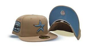 Houston Astros Fitted Hat 7 1/2  Oatmeal Oiler blue logo & under brim PRE ORDER