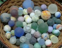 Lot  Of 100 Vintage Beach Sea Style Marbles Glass Shooters Frosted Pretty #65