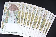 SUPERBE BILLET 500 FRS AFRIQUE OUEST N° SUIVANT 10 DISPO NEUF!!(achat unitaire)