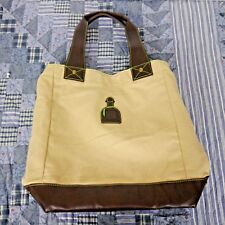 Patron Tequila Tan & Brown Canvas Tote Bag Green Lining & Interior Zipper Pocket