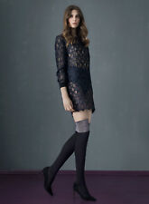 Black Opaque Over the Knee Socks With Silver Lurex Sparkle Top available in S, M
