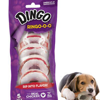 Dog Chews Ring Treats Healthy Chicken Dental Rawhide Snack Pack Count of 5 Rings