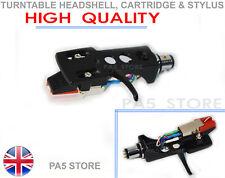 More details for black headshell cartridge & stylus for dj turntable numark ion stanton technics