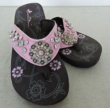Pink Patent Leather with Concho  Rhinestone Montana West Flat Flip Flop