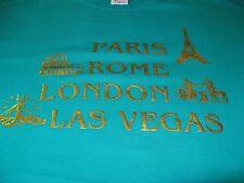 PARIS ROME LONDON LAS VEGAS VINTAGE 1984 TEE SHIRT TEAL UNUSED RARE XL