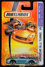 2006 Matchbox #25 Porsche 911 Turbo ZIRCON BLUE / 9-SPOKE WHEEL / MOC