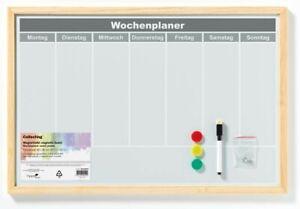 MAGNETTAFEL Wochenplaner Memoboard Pinnwand Holzrahmen weiß beschreibbar 40x60cm