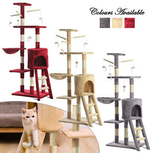 Cat Tree Scratching Climbing Post ladder Jumping Sleeping Pet Kitten Play Toy uk