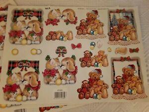 7 Sheets Kitty Puppy Bear Christmas Scene Paper Decoupage Cut Out TBZ Rotterdam