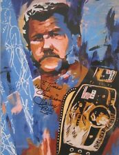 Autographed Harley Race 18 x 24 Poster, Print Wrestling WWE NWA World Champion