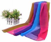 Women Gradient Color Soft Long Chiffon Thin Beach Wrap Stole Scarf Shawl Scarves