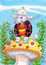 Poodle dog Lady Bug ACEO EBSQ Kim Loberg Fantasy insect Mini Art mushroom Ferns
