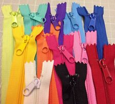 "WHOLESALE LOT OF 12 LONG PULL HANDBAG ZIPPERS 7"" Mixed Colors #4 (5.1mm) Nylon"