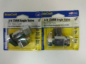 CHR 1/2x1/2 ANG Valve,No G2R37X CD,  Brass Craft Service Parts (2 Pack)