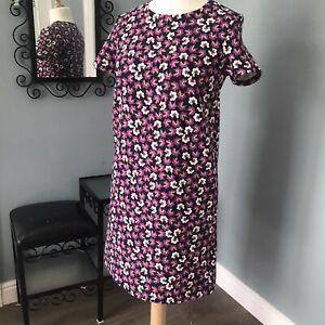 Tu 12 Medium - Bright Purple 70s Style Floral Tea Dress Straight Summer Retro