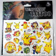 Pokemon Go Pikachu Cartoon Kids Boys Girls Temporary Tattoos Stickers Body Art
