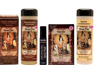 Natural Hair Brown Powder Shampoo Conditioner Cream Mascara Henna Hair Care Set