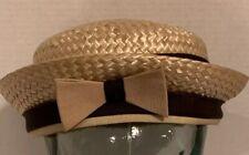 0e30bd13 Vtg 1950s-60s Penny Originals NY Straw W/ Ribbon Bow FRENCH BERET HAT 22