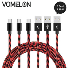6Ft 3pk Android Samsung Bend Durable Fast Charging Cable Micro USB Cord Charger