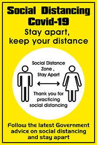 Social Distancing Indoor Sticker, Self Adhesive Warning Signs