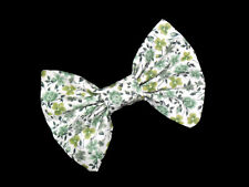 ROSA VERDE Green White Vintage Flower Bow with Barrette Hair Clip
