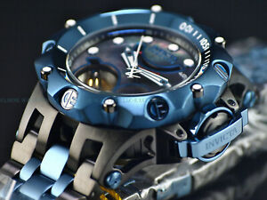 Invicta Reserve HYBRID Venom Double Open Heart Automatic BLUE & BLACK SS  Watch