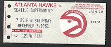 Atlanta Hawks vs Seattle Supersonics December 5 1981 Vintage Ticket Stub
