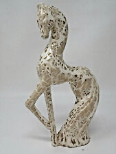 Vintage Formal Fierce Flowing Tail White and Gold Giraffe Figurine Porcelain