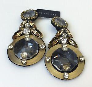 New Ranjana Khan RK Rhinestone Clip Earrings The Limited Jewelry