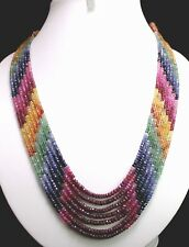 """7 Strand Finest Quality 100% Natural Multi Sapphire Roundel Necklace Beads 18"""""""