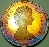 1982 CANADA 1 ONE SILVER DOLLAR PROOF UNC MONSTER RAINBOW COLOR TONED GEM (DR)