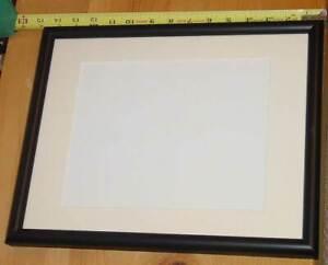 "Black metal frame overall 14.5"" x 11.5"" opening 13"" x 10"", mat 9.5"" x 7.5"" glass"