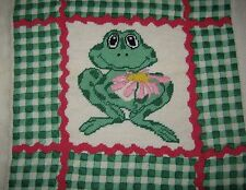 """Charming Finished Needlepoint Canvas FROG & FLOWER w/ Check Border 12½""""x12½"""""""