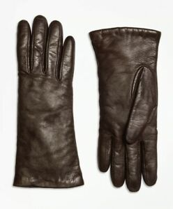 NWT Brooks Brothers BROWN Sz 7.5 Italian Cashmere Lambskin Leather Gloves, $150