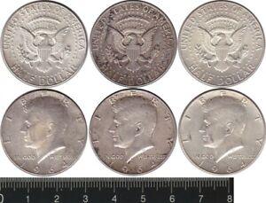 USA: 1964 Half Dollar silver President JF Kennedy 50c (3). ASW 1.085oz