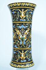 Beau vase Cornet Ancien en  Faience de Gien décor Renaissance Faune Sphinge
