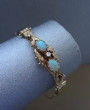 VINTAGE 14K YELLOW GOLD OPAL CABOCHON BRACELET W/ DIAMONDS & SEED PEARLS - 23 GR