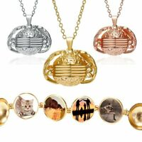 Expanding 4 Photo Locket Necklace Magic Ball Angel Wing Pendant Memorial Jewelry