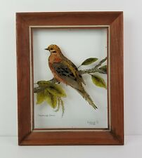 Framed Bird Painting Reverse On Glass Vintage Wood Eunice Mourning Dove