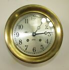 """1960-64 """"Abercrombie & Fitch"""" Chelsea Ship's Bell 6"""" Brass Marine Clock"""