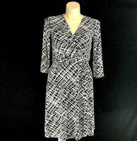 White House Black Market 10 Dress Crosshatch Stripe Faux Wrap Twist Flirty Skirt