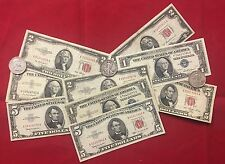 Old Paper Money $1.00 Silver Certificate, $2.00 & $5.00 Red Seal, & Silver .50c